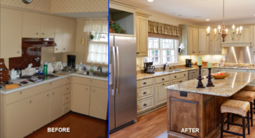 Before and after reface or replace kitchen cabinets Klamco | Home Remodeling by Klam Construction