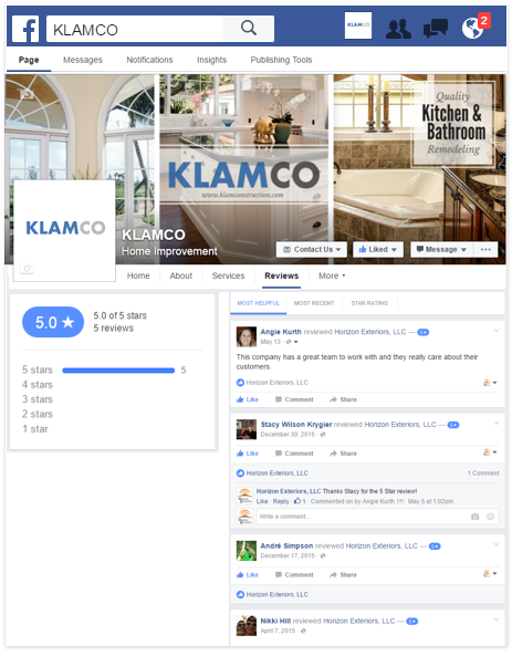 klamco facebook review page mini