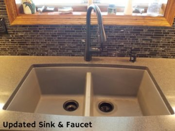 before and after updated sink faucet by Klamco | Home Remodeling by Klam Construction